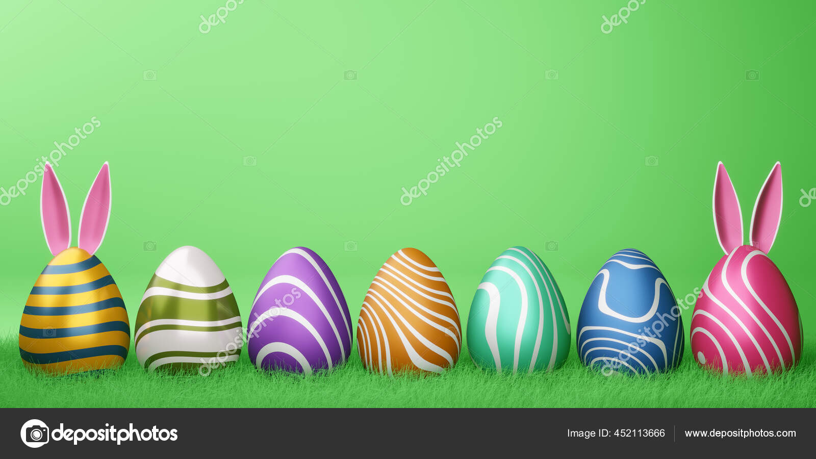 Happy Easter Day Cute Bunny Colorfull Egg Easter Backgroung Rendering Stok Foto C Somjork 452113666