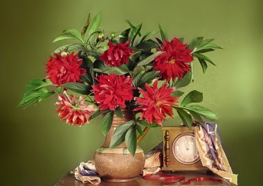 Still life with red dahlias in a clay jar and a clock .