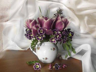 Tulips and Primula purple color in white vase on white cloth .