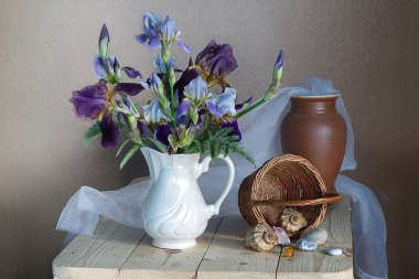 Bouquet of irises in a white vase and sea shells.Still life with flowers .