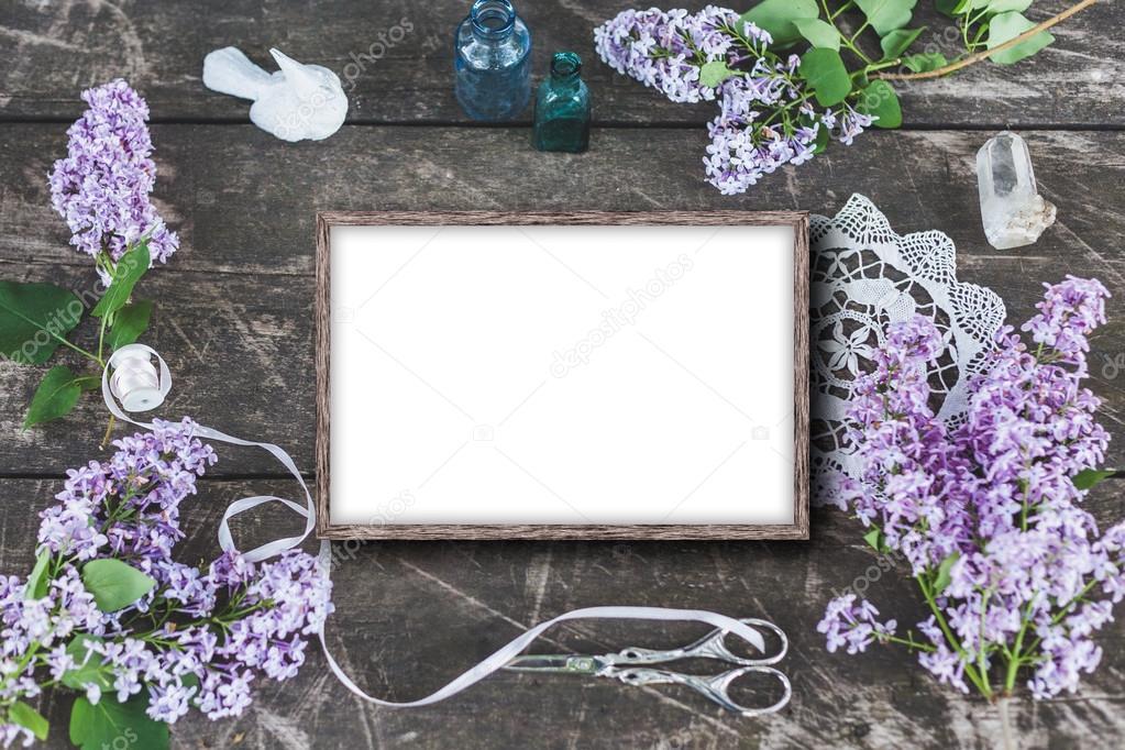 Cute and stylish branding mockup photo wit lilac.