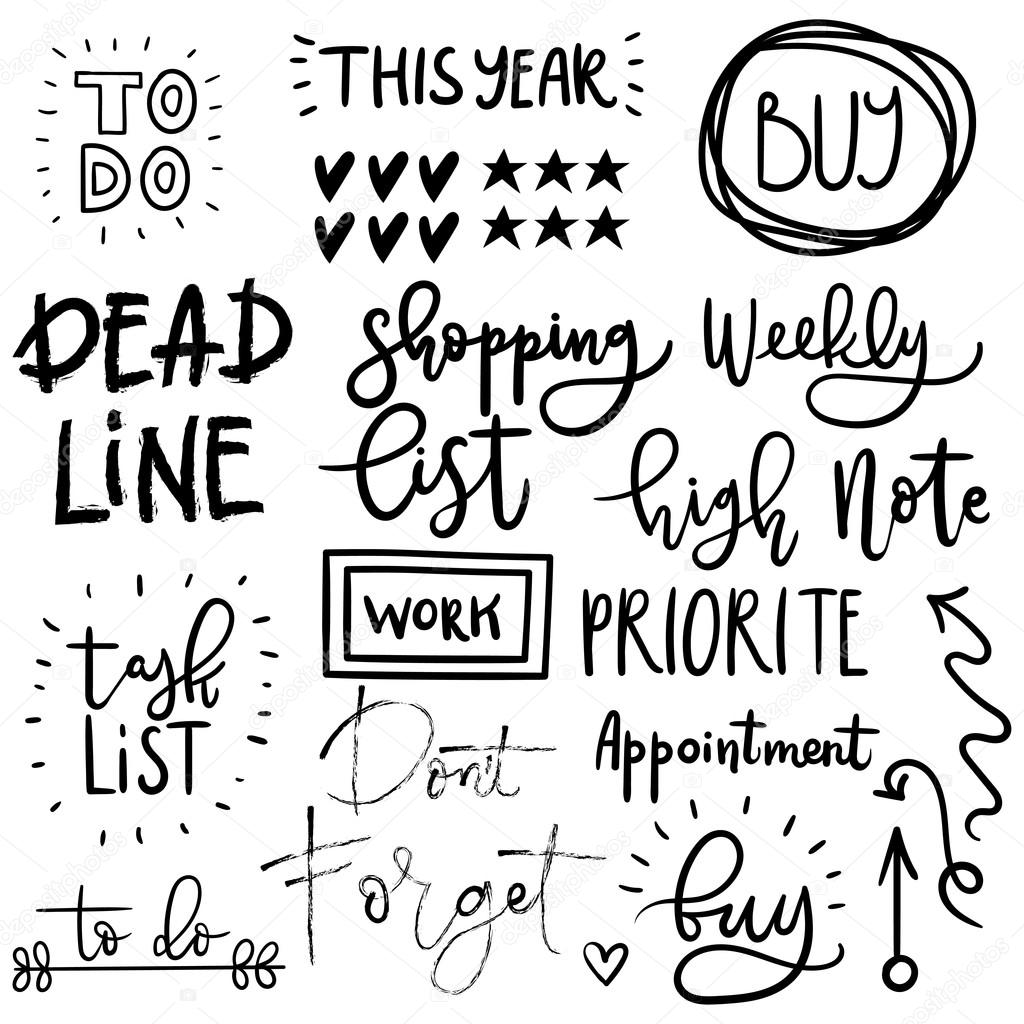 Simple Typography Spells Out A Powerful Motivation For: Set Of Cute Hand Drawn Diary Stickers.