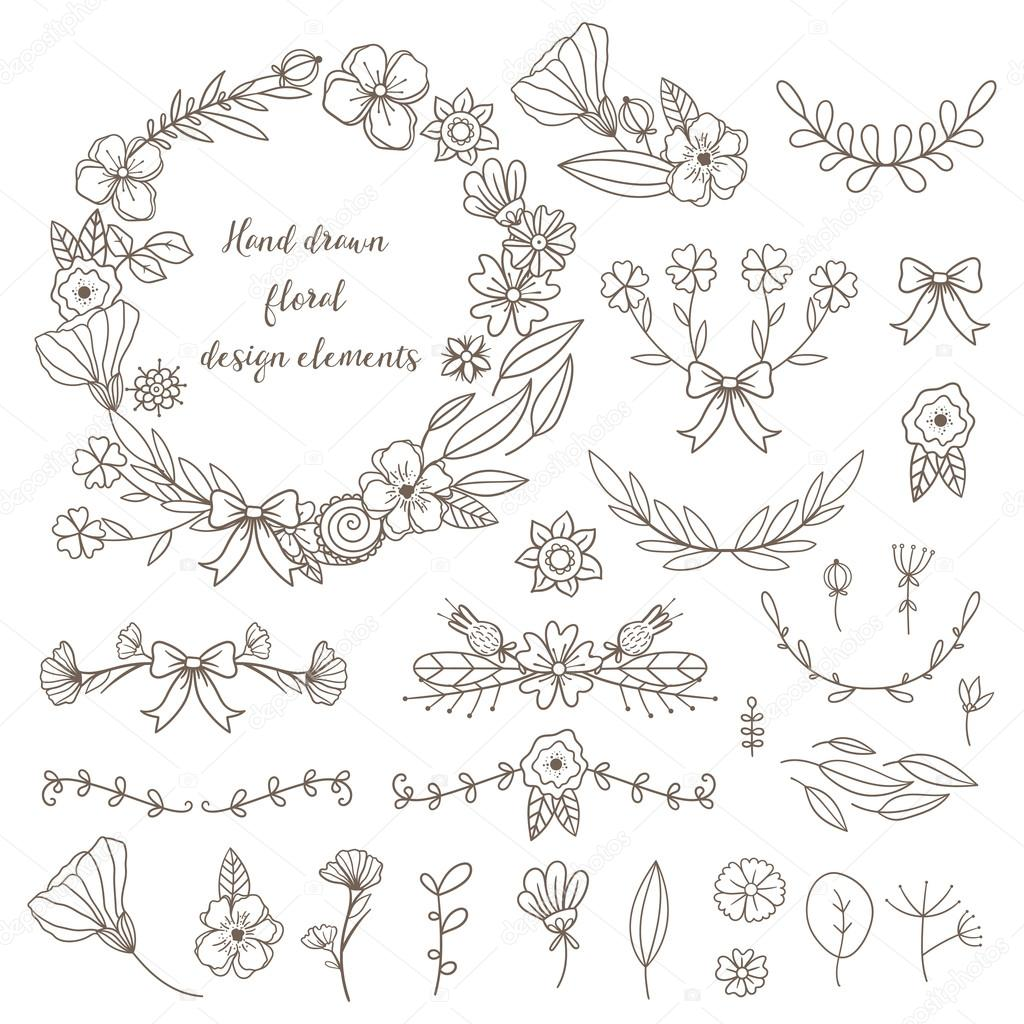 Set of hand drawn doodle flowers and plants.