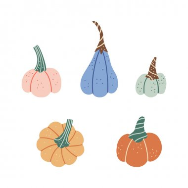 Pumpkin of various shapes and colors. Cute cartoon style design elements for Thanksgiving and Halloween. icon