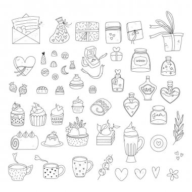 Bundle of valentine day illustrations. Pack of adorable doodles. Hand drawn valentines day icons. icon