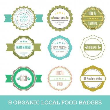 Organic fresh local food hipster simple badge