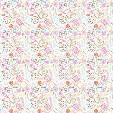cartoon sweets, cookies, candies pattern