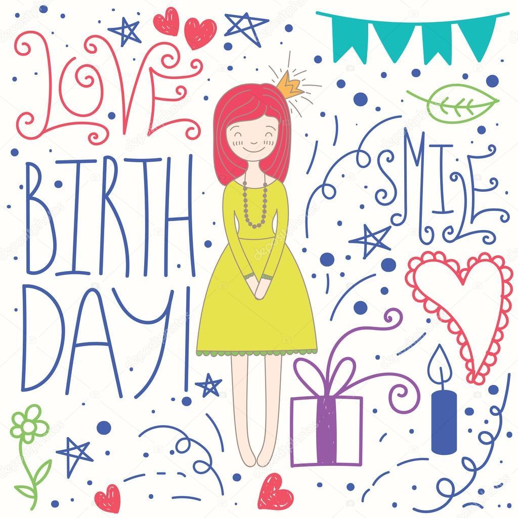 Princess Angel Birthday Greeting Card Stock Vector A C Photovolga