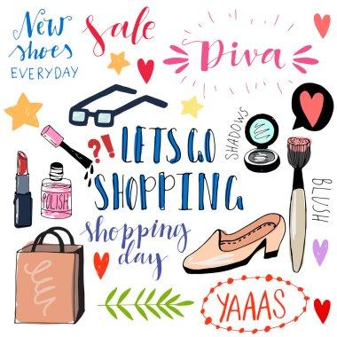 Sale, shopping cartoon  icons.