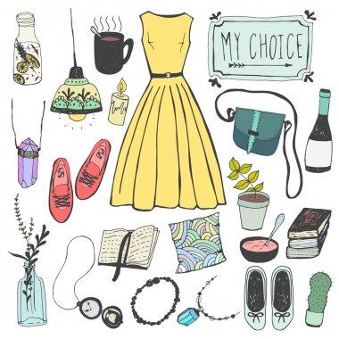 set of style, blog, fashion icons