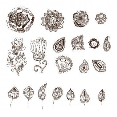 set of decorative floral elements