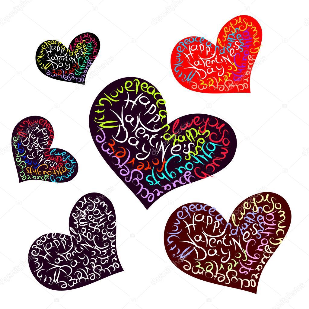 Corazones Con Frases De Amor Archivo Imagenes Vectoriales