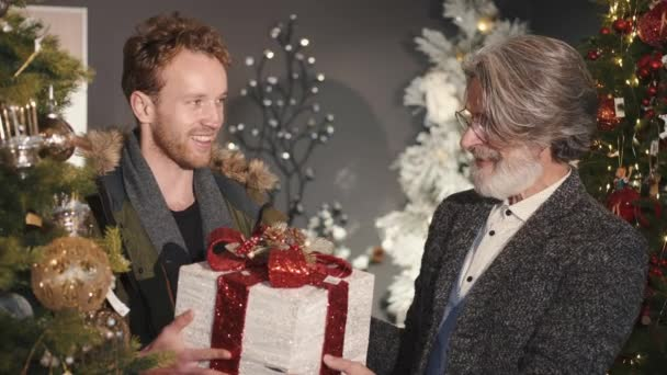 Stylový mladý muž dává dárek dědečkovi v vánoční zdobené místnosti