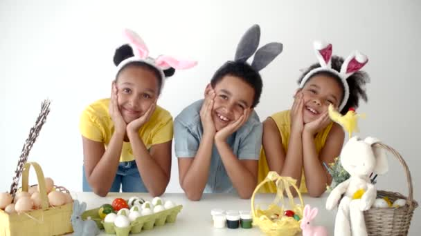African american school kids playingand having fun on Easter holidays