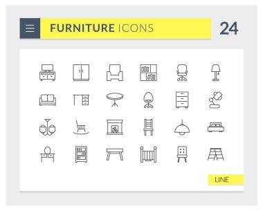 Premium Furniture Line Vector icon set