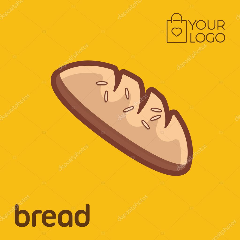 Bread Logo Icon Flat Design Vector Illustration Banner Stock