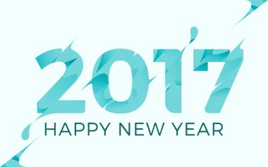 Happy New year 2017 Vector Illustration template Background design. Modern frozen theme.