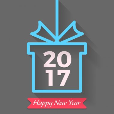 Happy New year 2017 vector text graphic design in gift box