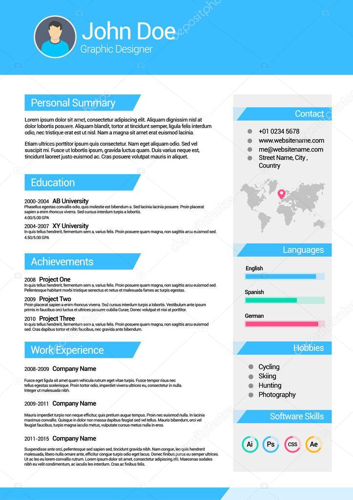 minimalist cv curriculum vitae resume vector template v1 ストック