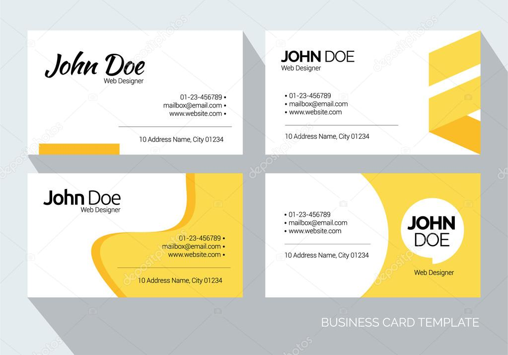 Yellow Abstract Business card set Vector graphic design template ...