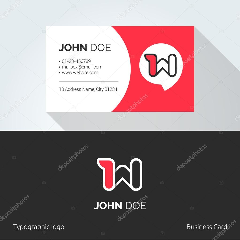 w letter typographic alphabet linear logo business card template