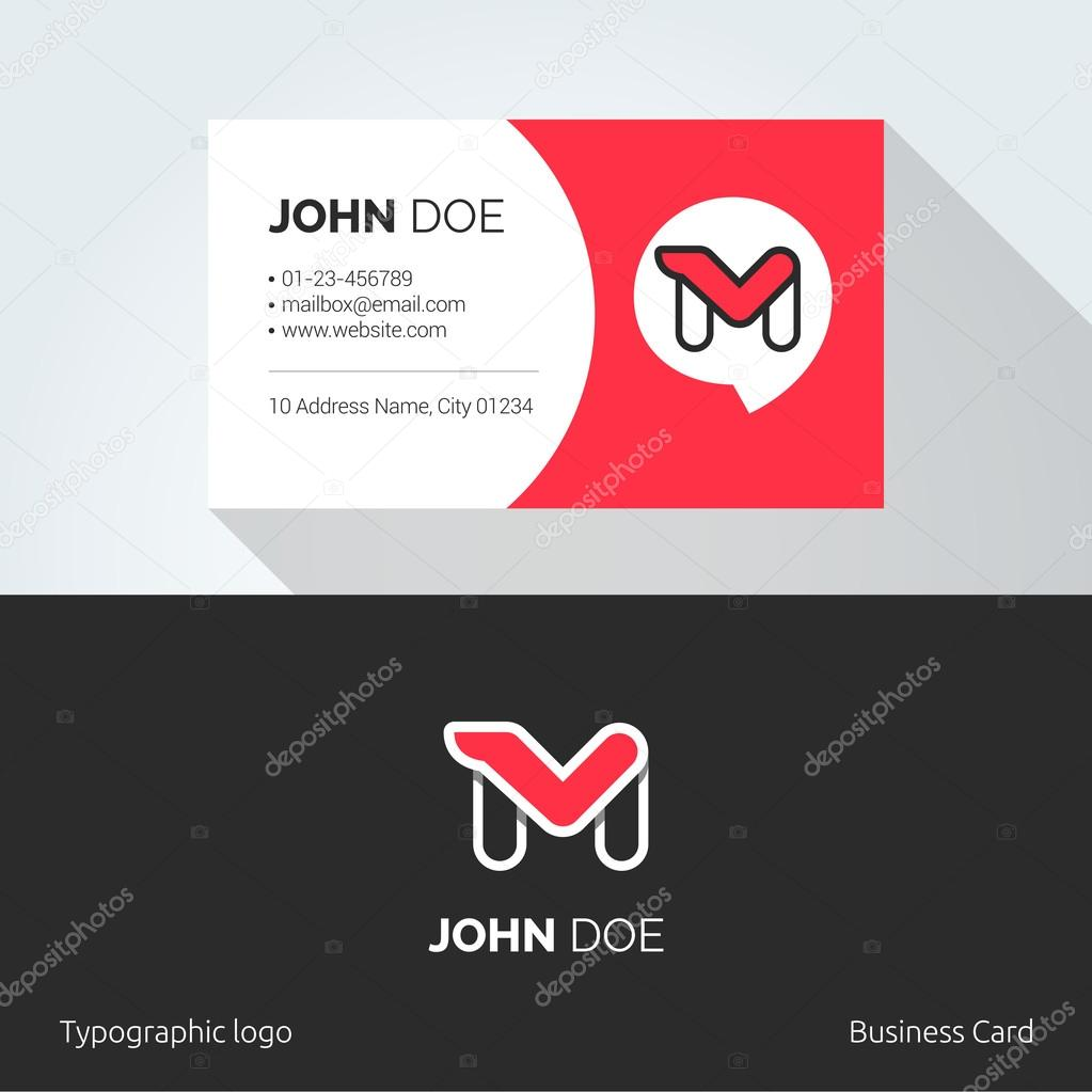 M Letter typographic alphabet linear logo. Business card template ...