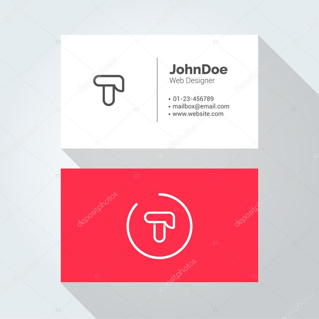 T Simple Letter Minimal alphabet linear logo. Business card template ...