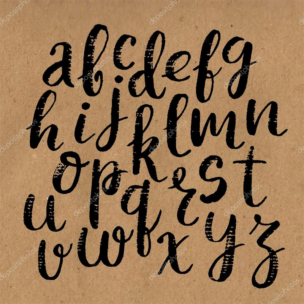 Hand Drawn Vector Calligraphic English Alphabet Written With Brush Pen Craft Background By A Bachelorette