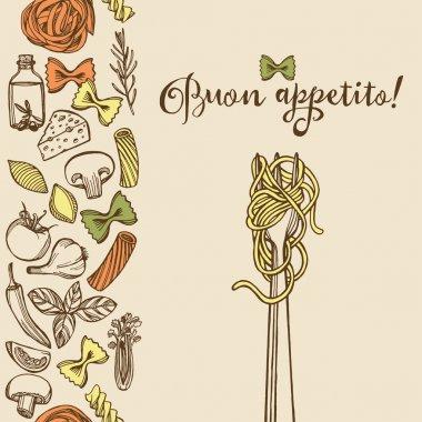 Hand drawn Italian pasta