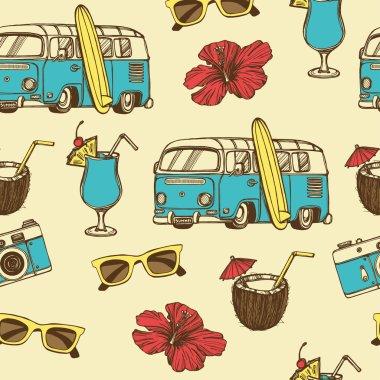 Retro summer vacation seamless pattern