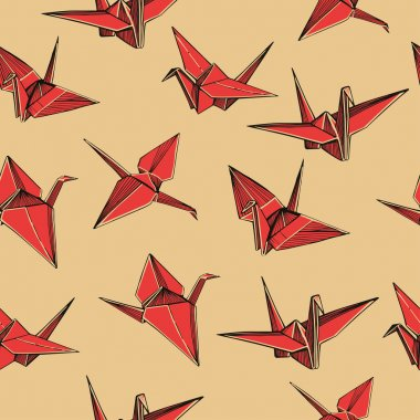 Hand drawn red paper cranes