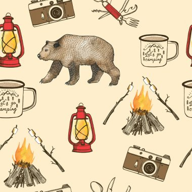 Hand drawn camping seamless pattern