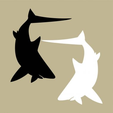 Logo, icon, design of two sharks in black and white icon