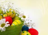 Easter eggs, baskets and the flowers