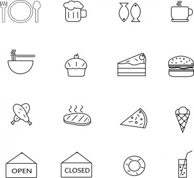 Food and drink icon set, thin line, suitable for cafe, restaurant, and fast food, also for infographics, websites and print media vector and illustrator eps10 icon