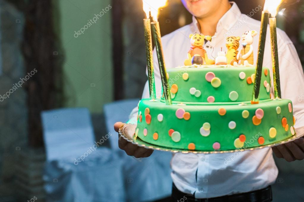 Birthday Cake With Candles And Winnie The Pooh By Disney Stock