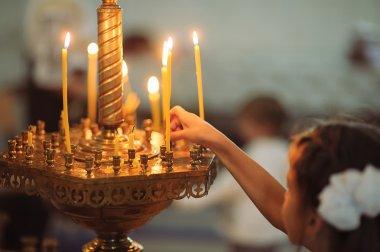 Candles in christian church ortodox