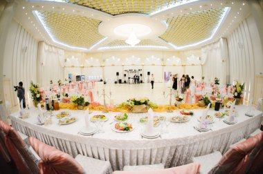 Banquet wedding table setting on evening reception