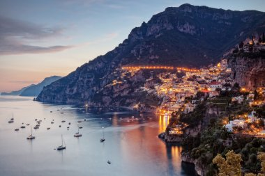 Positano lit by street lights