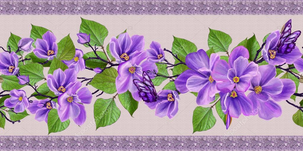 Horizontal Floral Border Purple Spring Flowers Butterflies