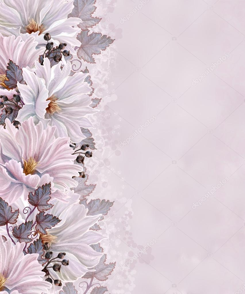 White And Pink Flowersvertical Flower Border Pattern Floral Background Photo By Sokolova