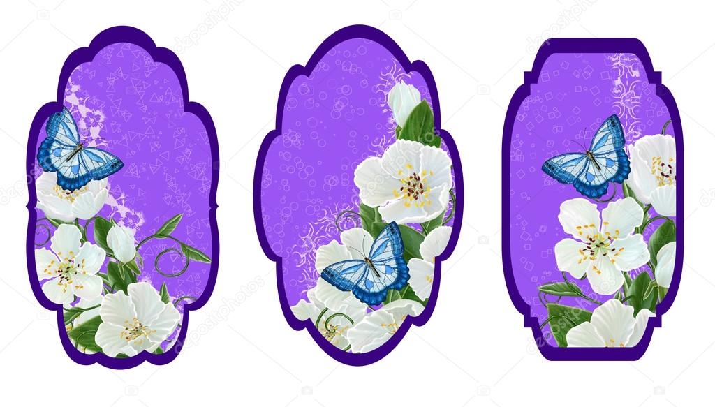 Set labels. Card, invitation, business card. Flower pattern. The branch of white spring flowers and a blue butterfly. Spring flowering.