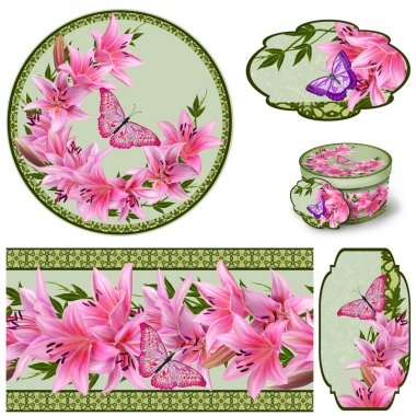 Set for packaging. Box round. Label. decoupage. Floral background. Flower border. Pattern. Mosaic. Flowers. Flower garland of lilies, bright butterfly.