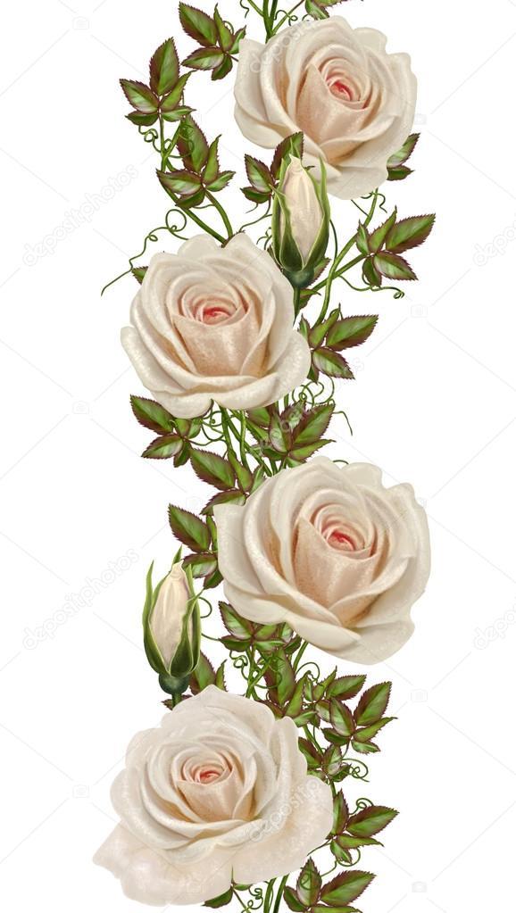 Κάθετη άνθινο πλαίσιο. Φαντασία, άνευ ραφής. Παλιό στυλ, χρυσό συνόρων, χρυσό ψηφιδωτό. Παστέλ τριαντάφυλλα. Απομονωμένη. — Φωτογραφία Αρχείου