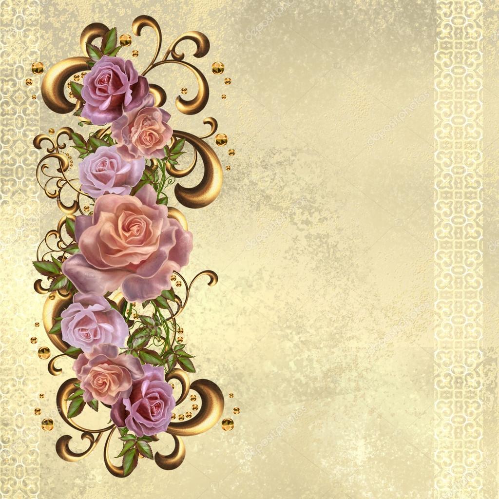 Rosas Coloridas Buquê Em Uma Moldura De Ouro. Estilo