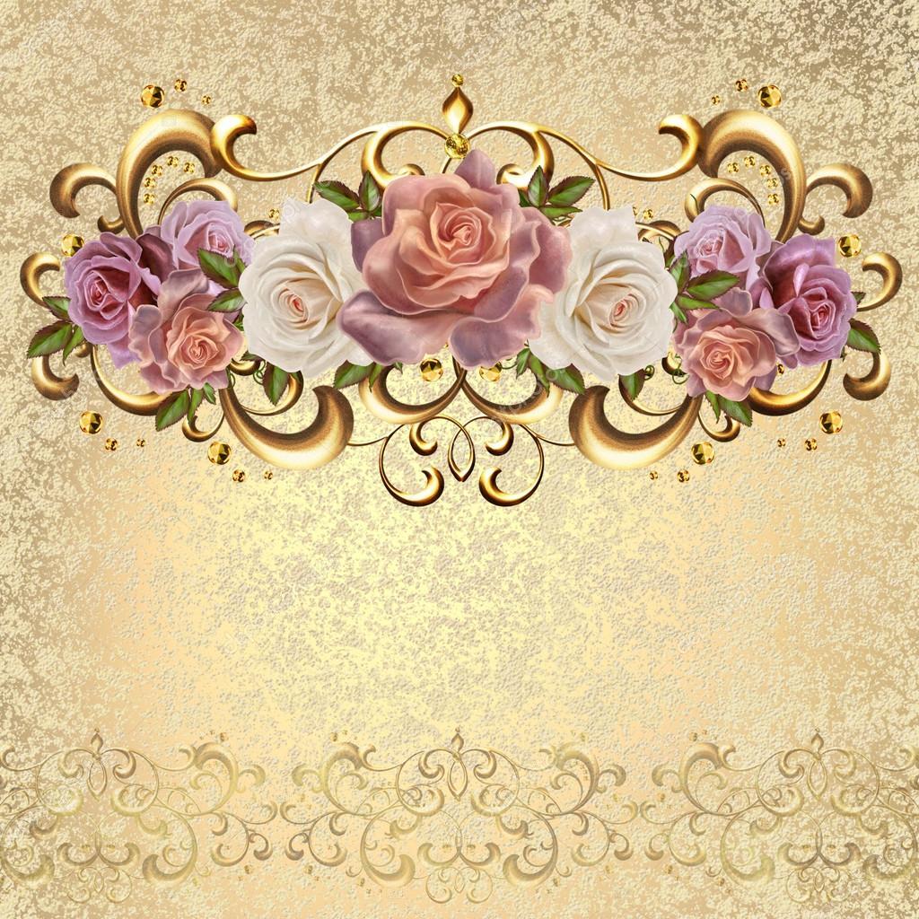 Buquê De Rosas Cor De Rosa E Pastel Em Uma Moldura De Ouro