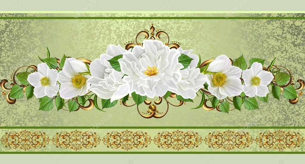 Flower garland of white flowers. Gold weave. Old style. Floral ...
