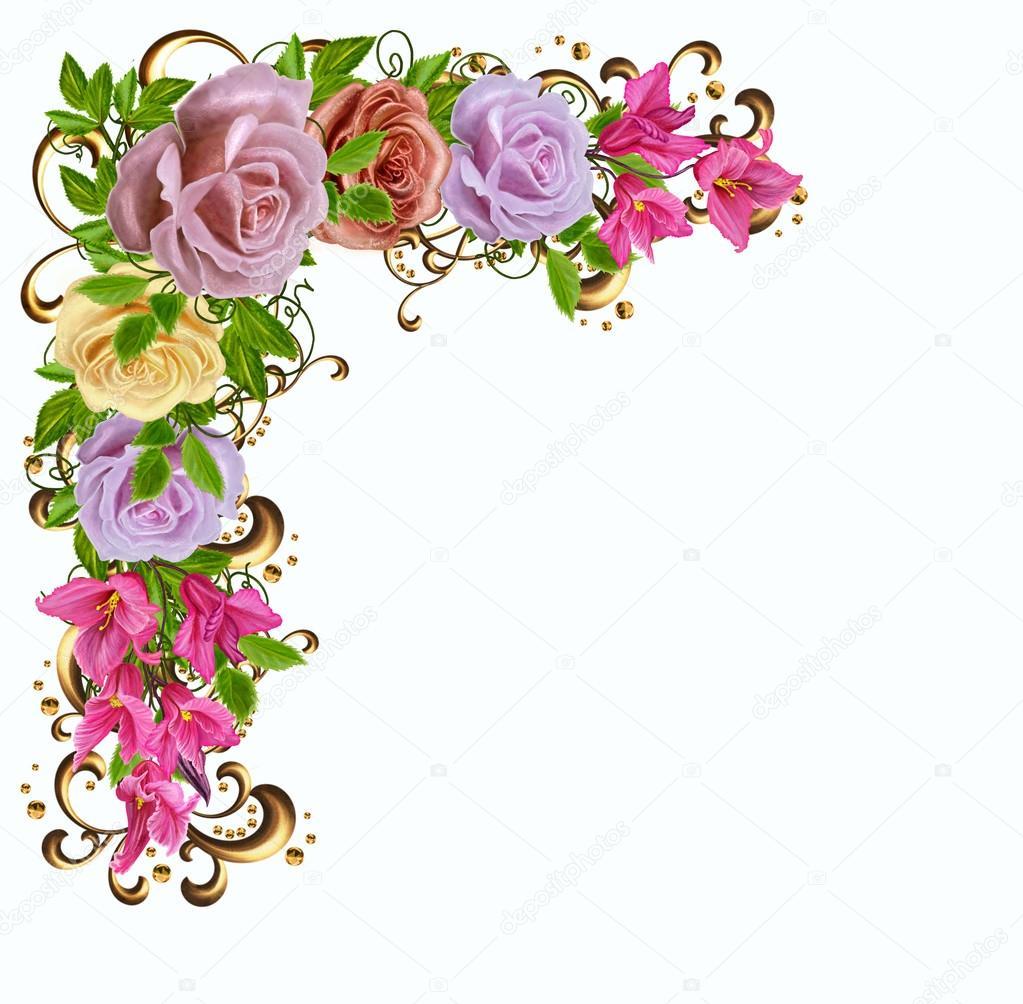 Floral Background Old Style Vintage Isolated Corner Frame Gold Braiding Pastel Roses
