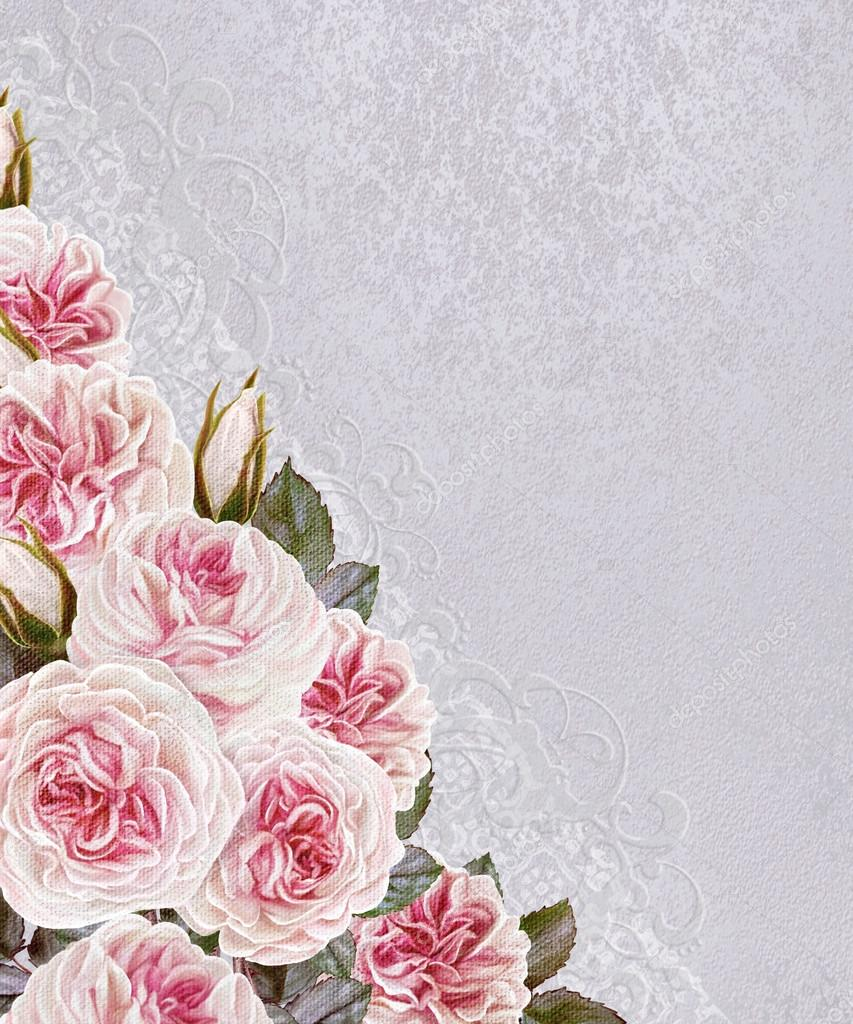 Top Floral background. Invitation card. A bouquet of flowers, pink  QW75