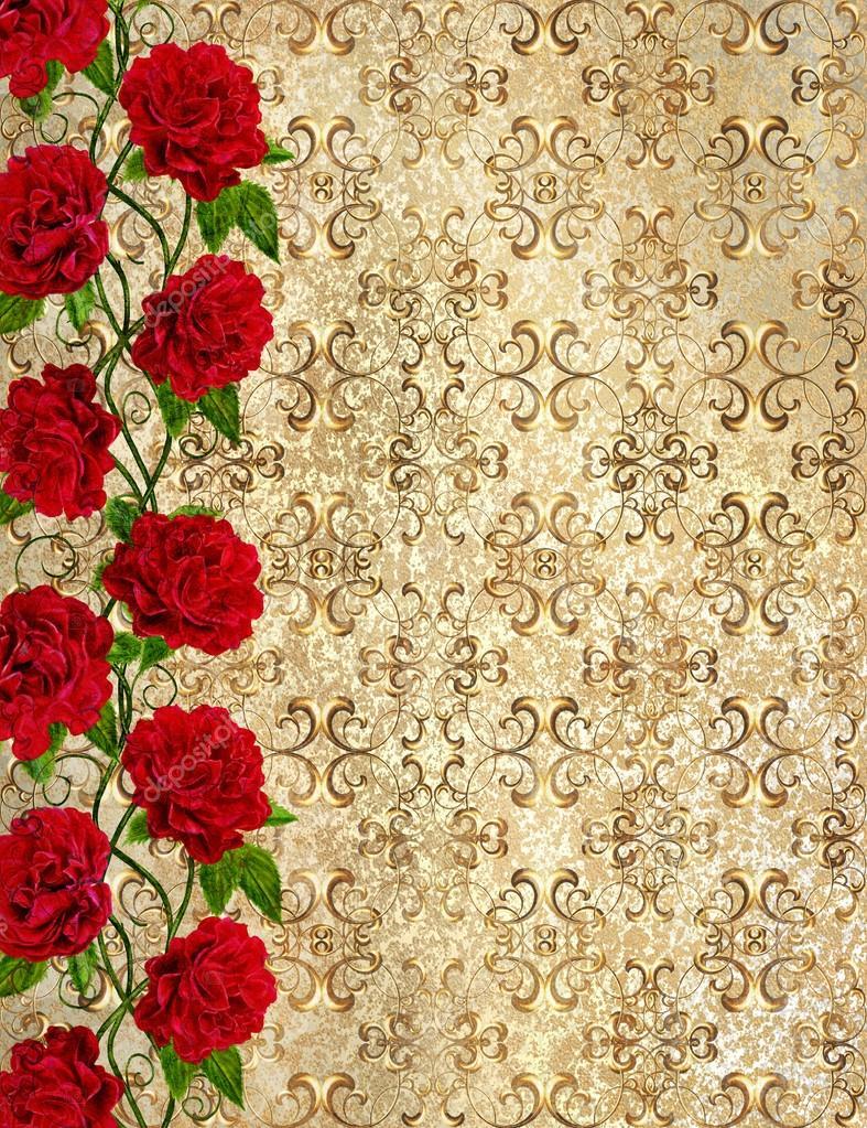 elegant gold background lowing shapes damask pattern